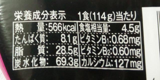 日清焼そばU.F.O.五目あんかけ風焼そば栄養成分