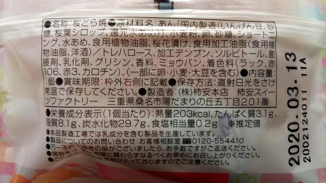 桜どら焼き原材料栄養成分
