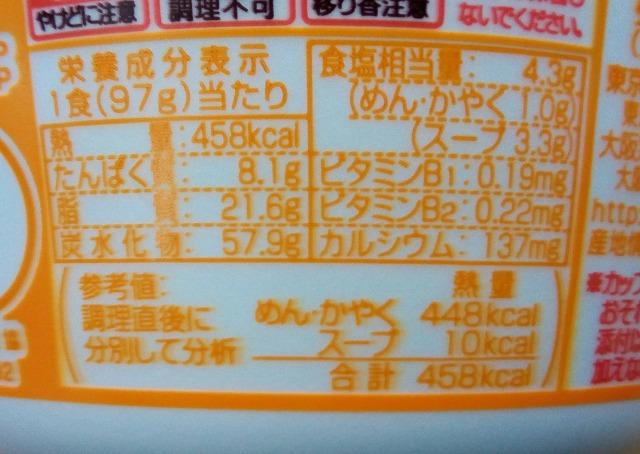 どん兵衛 鬼かき揚げ 天ぷらうどん栄養成分